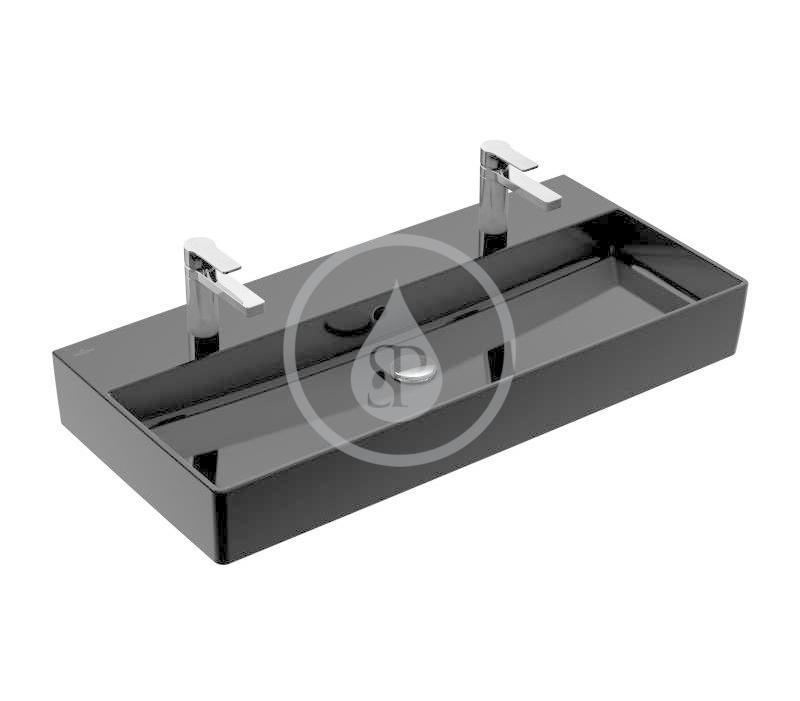 VILLEROY & BOCH - Memento 2.0 Dvojumývadlo nábytkové 1000x470 mm, s prepadom, 2 otvory na batériu, CeramicPlus, Glossy Black (4A221LS0)