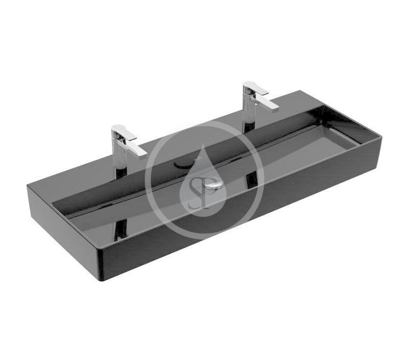VILLEROY & BOCH - Memento 2.0 Dvojumývadlo nábytkové 1200x470 mm, bez prepadu, 2 otvory na batériu, CeramicPlus, Glossy Black (4A22CGS0)