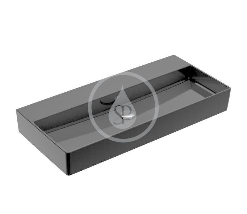 VILLEROY & BOCH - Memento 2.0 Umývadlo 1000x470 mm, bez prepadu, bez otvoru na batériu, CeramicPlus, Glossy Black (4A22A3S0)