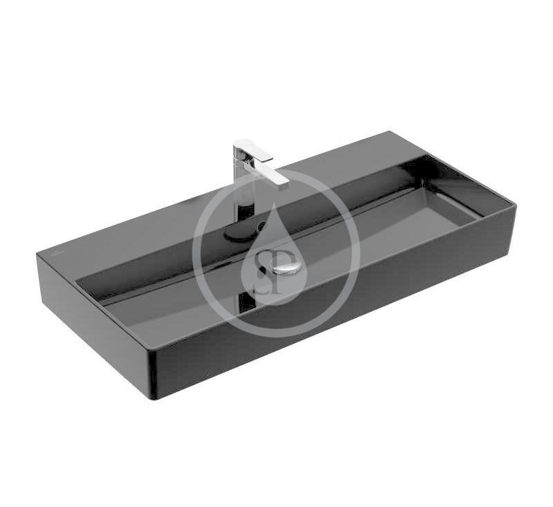 VILLEROY & BOCH - Memento 2.0 Umývadlo 1000x470 mm, s prepadom, otvor na batériu, CeramicPlus, Glossy Black (4A22A5S0)