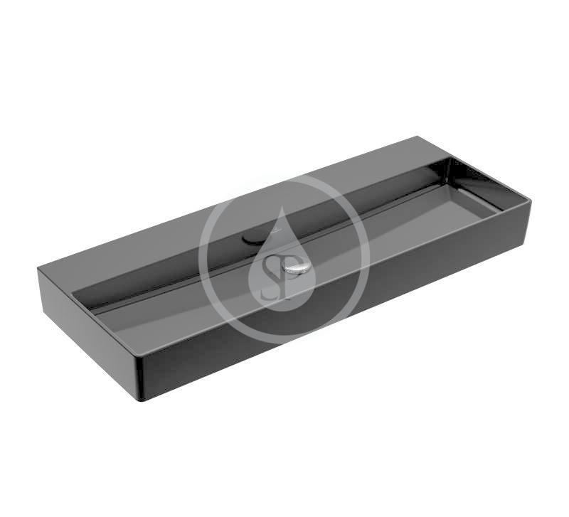 VILLEROY & BOCH - Memento 2.0 Umývadlo 1200x470 mm, bez prepadu, bez otvoru na batériu, CeramicPlus, Glossy Black (4A22C3S0)