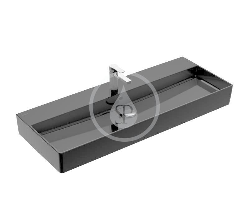 VILLEROY & BOCH - Memento 2.0 Umývadlo 1200x470 mm, s prepadom, otvor na batériu, CeramicPlus, Glossy Black (4A22C5S0)