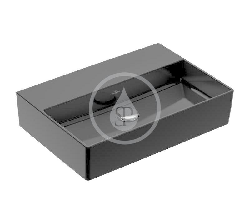 VILLEROY & BOCH - Memento 2.0 Umývadlo 600x420 mm, bez prepadu, bez otvoru na batériu, CeramicPlus, Glossy Black (4A2263S0)