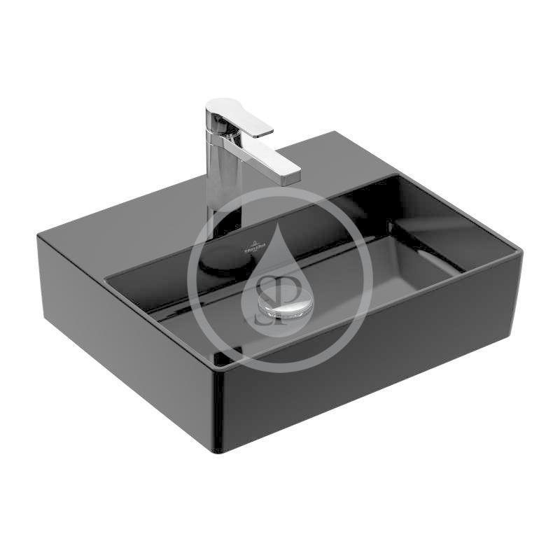 VILLEROY & BOCH - Memento 2.0 Umývadlo 600x420 mm, bez prepadu, otvor na batériu, CeramicPlus, Glossy Black (4A2261S0)