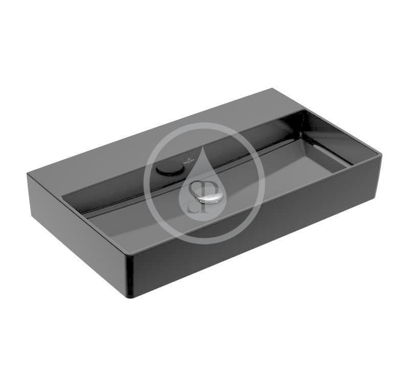 VILLEROY & BOCH - Memento 2.0 Umývadlo 800x470 mm, bez prepadu, bez otvoru na batériu, CeramicPlus, Glossy Black (4A2283S0)