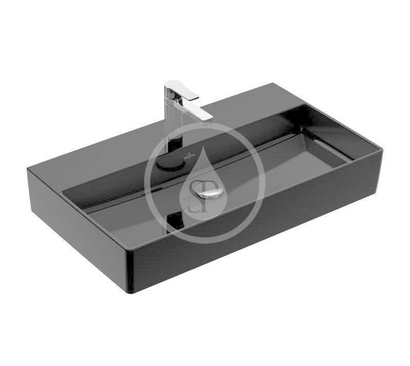 VILLEROY & BOCH - Memento 2.0 Umývadlo 800x470 mm, bez prepadu, otvor na batériu, CeramicPlus, Glossy Black (4A2281S0)