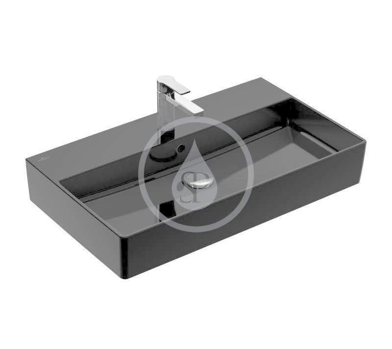 VILLEROY & BOCH - Memento 2.0 Umývadlo 800x470 mm, s prepadom, otvor na batériu, CeramicPlus, Glossy Black (4A2280S0)