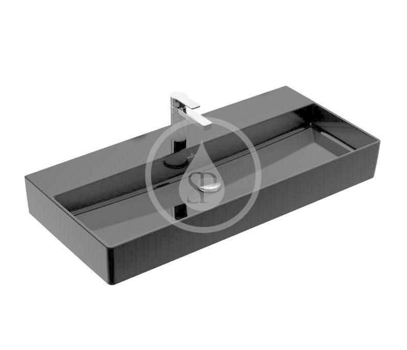 VILLEROY & BOCH - Memento 2.0 Umývadlo nábytkové 1000x470 mm, bez prepadu, otvor na batériu, CeramicPlus, Glossy Black (4A221HS0)