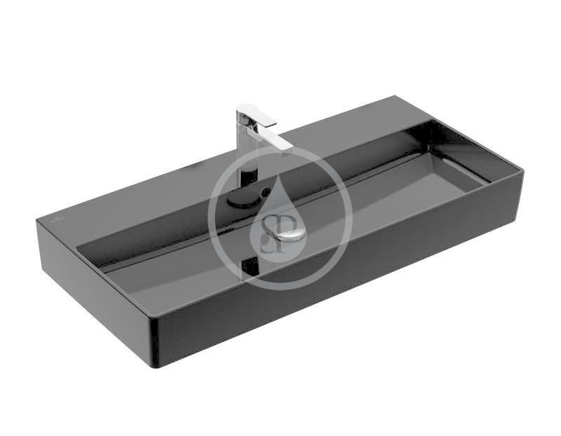 VILLEROY & BOCH - Memento 2.0 Umývadlo nábytkové 1000x470 mm, s prepadom, otvor na batériu, CeramicPlus, Glossy Black (4A221GS0)