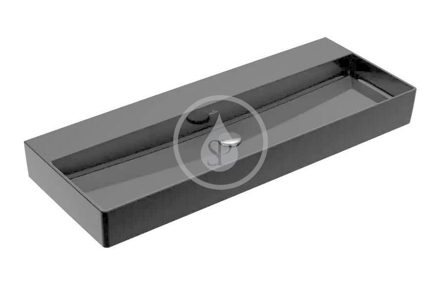 VILLEROY & BOCH - Memento 2.0 Umývadlo nábytkové 1200x470 mm, bez prepadu, bez otvoru na batériu, CeramicPlus, Glossy Black (4A22CFS0)