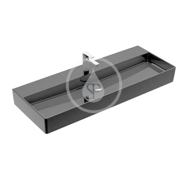 VILLEROY & BOCH - Memento 2.0 Umývadlo nábytkové 1200x470 mm, bez prepadu, otvor na batériu, CeramicPlus, Glossy Black (4A22CHS0)