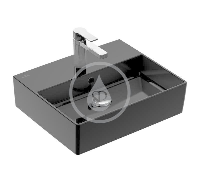 VILLEROY & BOCH - Memento 2.0 Umývadlo nábytkové 500x420 mm, s prepadom, otvor na batériu, CeramicPlus, Glossy Black (4A225GS0)