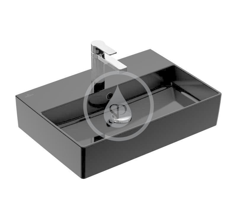 VILLEROY & BOCH - Memento 2.0 Umývadlo nábytkové 600x420 mm, s prepadom, otvor na batériu, CeramicPlus, Glossy Black (4A226GS0)