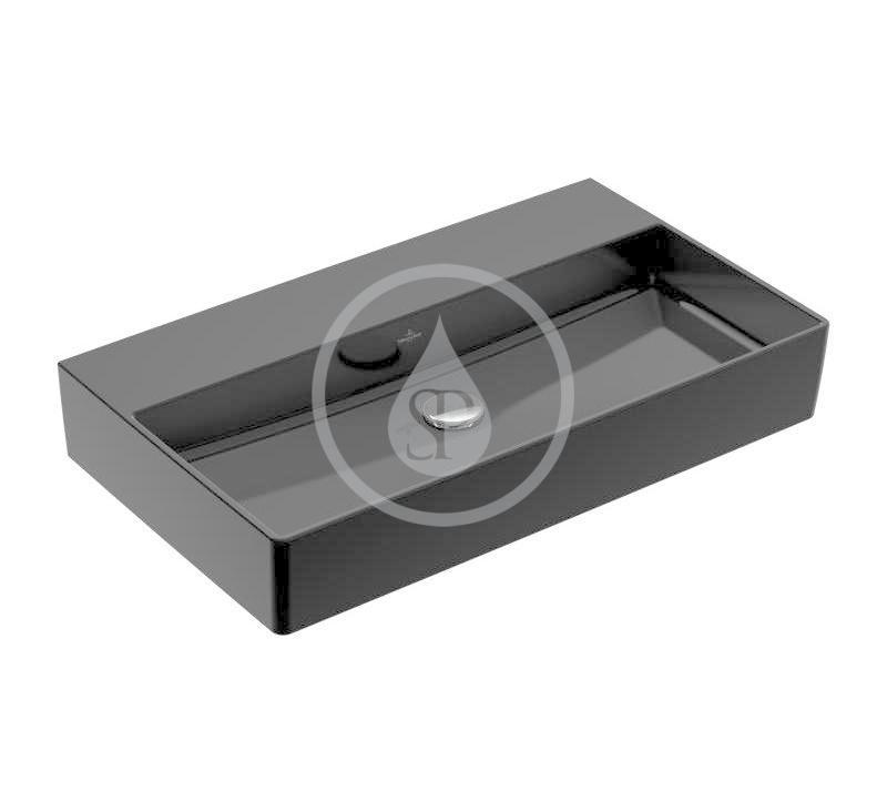 VILLEROY & BOCH - Memento 2.0 Umývadlo nábytkové 800x470 mm, bez prepadu, bez otvoru na batériu, CeramicPlus, Glossy Black (4A228FS0)