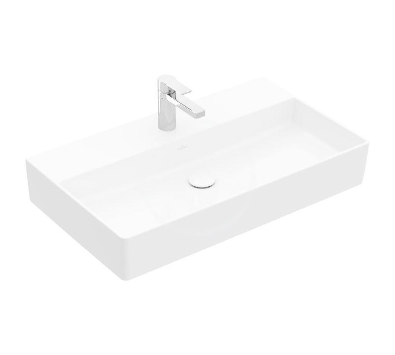 VILLEROY & BOCH - Memento 2.0 Umývadlo nábytkové 800x470 mm, bez prepadu, otvor na batériu, CeramicPlus, alpská biela (4A228LR1)