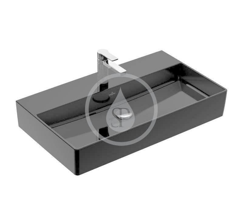 VILLEROY & BOCH - Memento 2.0 Umývadlo nábytkové 800x470 mm, bez prepadu, otvor na batériu, CeramicPlus, Glossy Black (4A228LS0)
