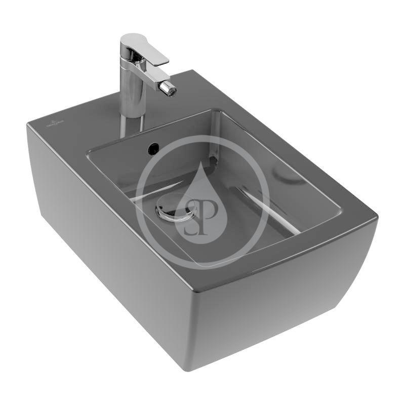 VILLEROY & BOCH - Memento 2.0 Závesný bidet, s 1 otvorom na batériu, CeramicPlus, Glossy Black (443300S0)