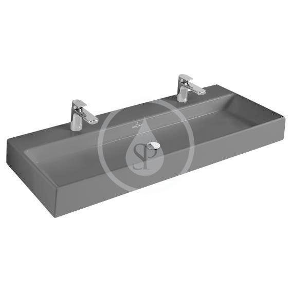 VILLEROY & BOCH - Memento Dvojumývadlo 1000x470 mm, bez prepadu, 2 otvory na batériu, CeramicPlus, Glossy Black (5133AGS0)