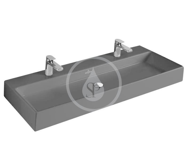 VILLEROY & BOCH - Memento Dvojumývadlo 1200x470 mm, bez prepadu, 2 otvory na batériu, CeramicPlus, Glossy Black (5133CGS0)