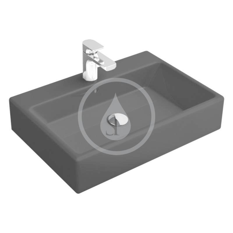 VILLEROY & BOCH - Memento Umývadlo 500x420 mm, s prepadom, otvor na batériu, CeramicPlus, Glossy Black (51335LS0)