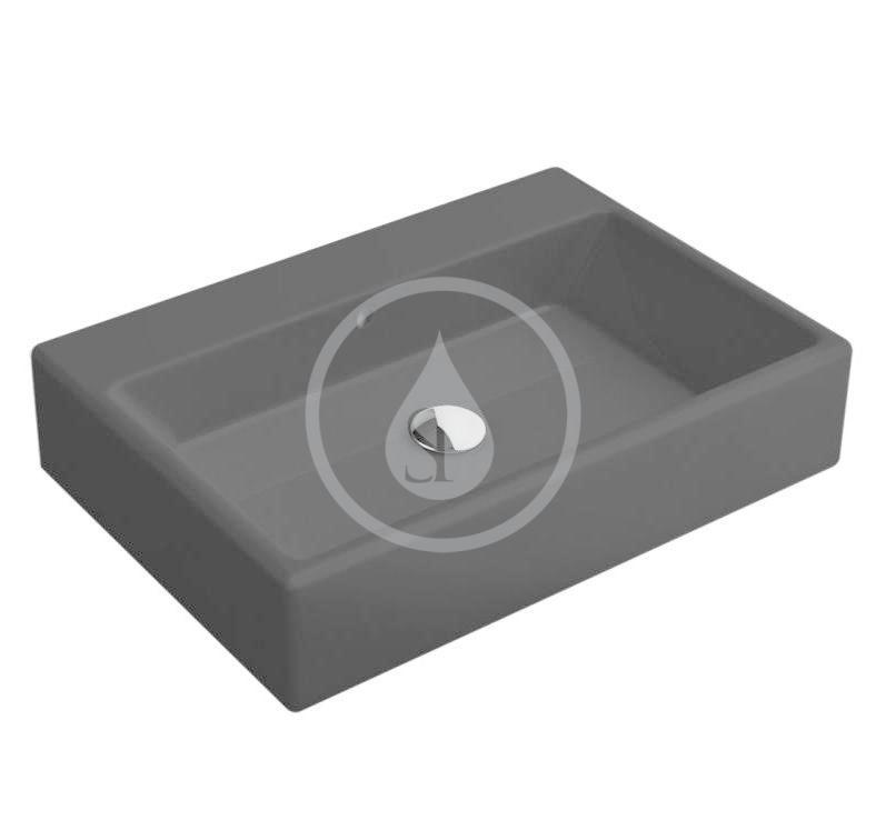 VILLEROY & BOCH - Memento Umývadlo na dosku, 500x420 mm, s prepadom, bez otvoru na batériu, CeramicPlus, Glossy Black (513552S0)