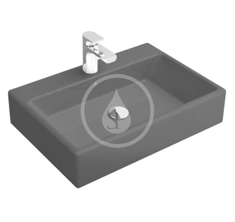 VILLEROY & BOCH - Memento Umývadlo na dosku, 500x420 mm, s prepadom, otvor na batériu, CeramicPlus, Glossy Black (513550S0)