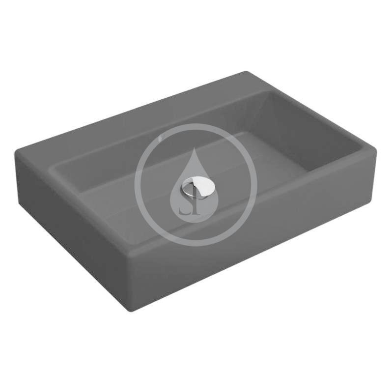 VILLEROY & BOCH - Memento Umývadlo na dosku, 600x420 mm, s prepadom, bez otvoru na batériu, CeramicPlus, Glossy Black (513562S0)