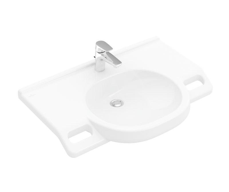 VILLEROY & BOCH - O.novo Umývadlo Vita 800x550 mm, bez prepadu, otvor na batériu, AntiBac, alpská biela (412081T1)