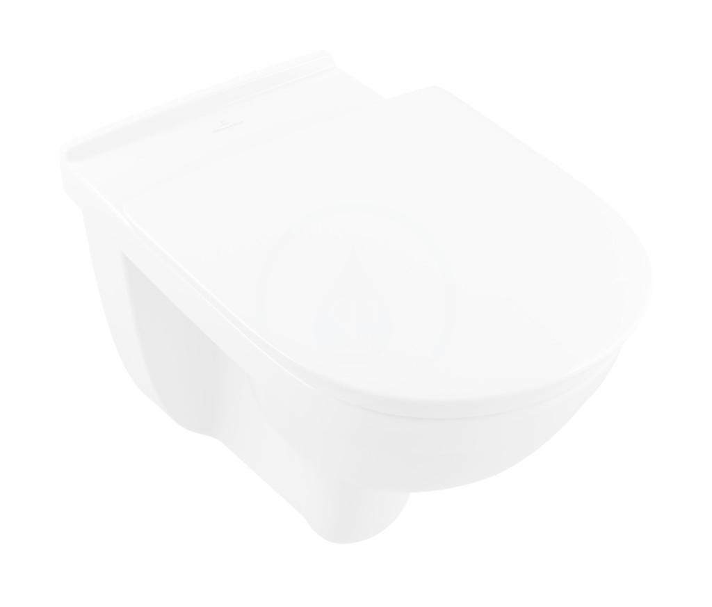VILLEROY & BOCH - O.novo Vita Závesné WC bezbariérové, zadný odpad, DirectFlush, AntiBac, alpská biela (4695R0T1)