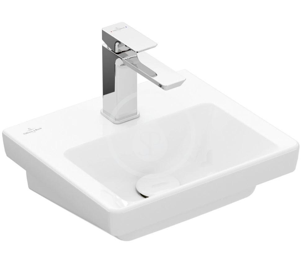 VILLEROY & BOCH - Subway 3.0 Umývadielko nábytkové 370x305 mm, bez prepadu, otvor na batériu, CeramicPlus, alpská biela (437038R1)